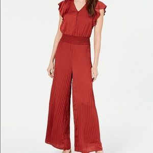Current air pleated wide leg jumpsuit